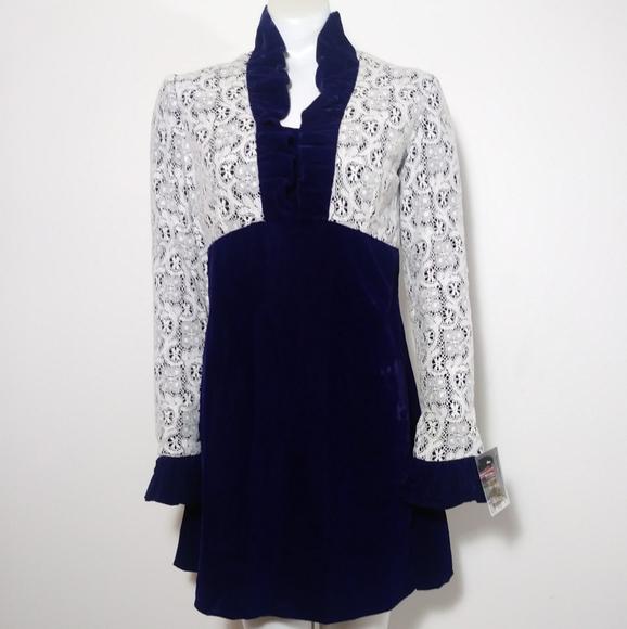 Vintage Dresses & Skirts - 60s 70s mod glam crochet lace velvet mini dress